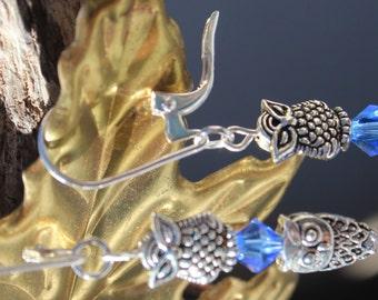 Silver Double Owl Earrings