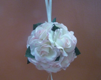 Wedding pomander. Kissing ball. Flower ball. Bridesmaid/Flowergirl. Ivory & Blush