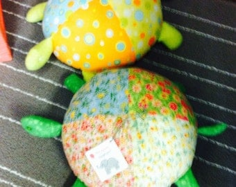 Stuffed Turtle made with a variety of floral cottons