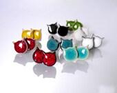 Cat stud earrings Cat earrings Ceramic earrings sterling silver posts Tiny cat Black cat Red cat Turquoise cat Blue cat Ceramic jewelry clay