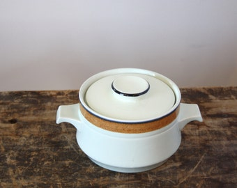 SALE-Vintage Large Sugar Bowl with Lid, International Stoneware Japan, Dutch Orange