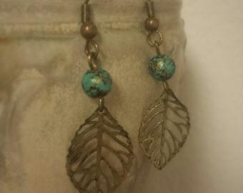 Rustic Leaf Dangle Earrings
