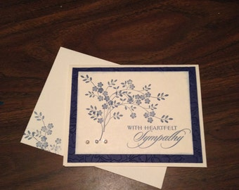 Sympathy Card.Sympathy card for women. Sympathy card with flowers.Blue card.Heartfelt sympathy.Sympathy and prayers.