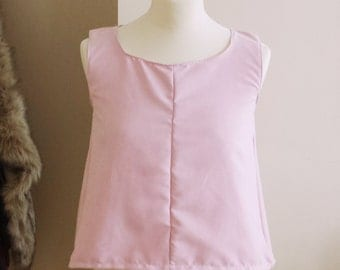 Baby pink faux suede split back top, size 8 or 10 available, SAMPLE SALE