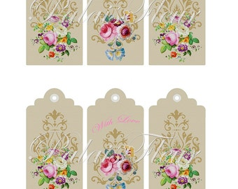 Vintage Victorian Antique French Flower Art Paper Gift / Swing Tags Instant Download DIY Graphic Collage Sheet  PalaisFleurVintage