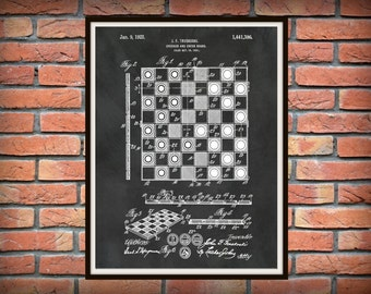 Patent 1923 Chess Board Checker Board - Art Print - Poster - Wall Art - Board Game Patent - Great Gift Idea - Game Room Art - Parlor Game