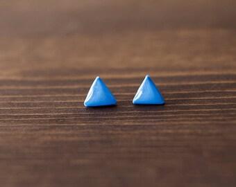 Blue stud earrings - triangle stud earrings