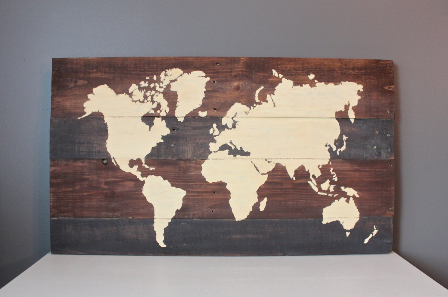 Large World Map Continents Wood Wall Art 31x18 By