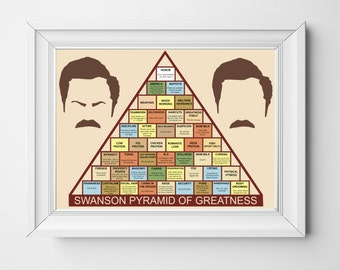 RON SWANSON / Swanson Pyramid Of Greatness / Parks and Recreation / Poster Art
