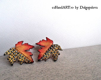 Polymer clay jewelry - Earrings - autumn leaves - Orange - Halloween - gift for her - Colorful earrings - Creative earrings - Trending item