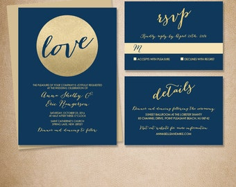 Gold Wedding Invitation Suite / Metallic Gold Glitter Circle, Navy Blue Invite Set ▷ Printed Wedding Invitations {or} Printable