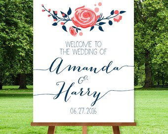 Floral Wedding Welcome Sign / Navy Rose Flower / Rose and Navy / Custom Sign ▷ Printable File {or} Printed & Shipped
