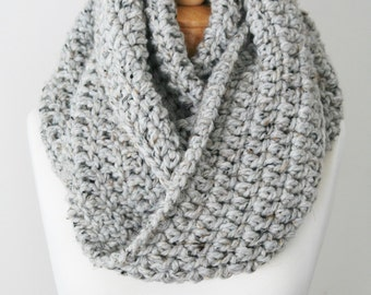 Wool Blend Knitted Scarf, Chunky Knit Infinity, Oversized Infinity Scarf, Gray Scarf, Handmade Wool Scarf