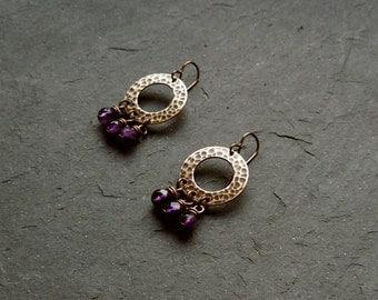Brass earrings with faceted Amethyst, earrings with gemstones, gemstone earrings, hammered earrings, earrings, purple
