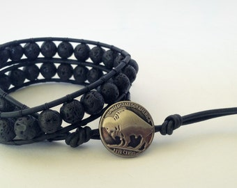 Male | Volcanic Lava Rock Beaded Leather Double Wrap Bracelet