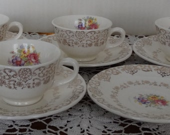 """French Saxon China """"Gold Lace"""" Demitasse Cup and Saucer (4)"""