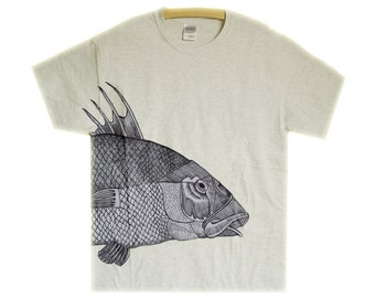 Hand Drawn//Painted//Light Grey//Art//T-shirt//size-L//with Black Ink//Fish Motif// Motif Turns From Back to Front
