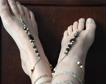 (Pair) Sandal feet naked, barefoot sandals, jewelry feet, (even) footless sandals, foot jewelery, barefoot sandals.