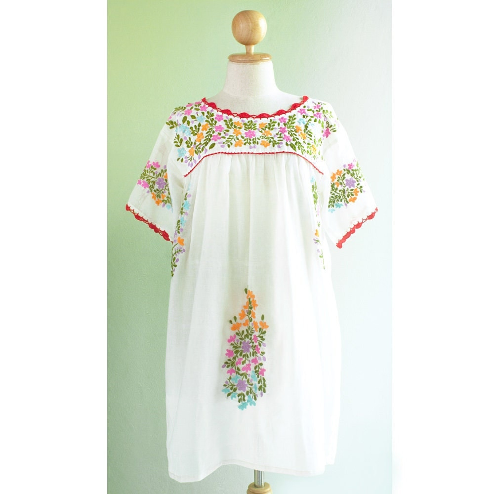 Hand embroidered tunic blouse mexican top boho hippie ethnic