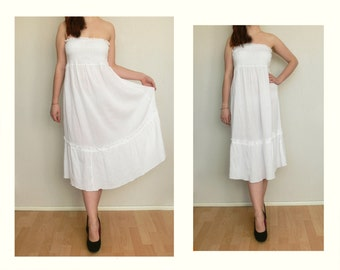 White dress women long