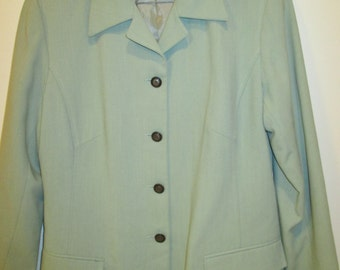 Australian Made Pastel Green Fitted Dress Jacket- size AU14