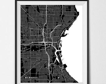 Milwaukee Wisconsin State Map Art Print, University of Wisconsin Map Art Dorm Decor Graduation Gift Milwaukee City Map of Milwaukee Art