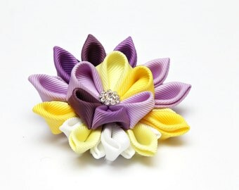 Purple, lilac, yellow kanzashi flower brooch, kanzashi brooch, fabric brooch, ladies brooch