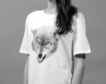 Wolf T-Shirt Screen printed in Berlin-loup sérigraphie-