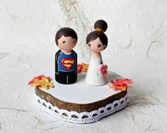 Superhero wedding cake topper: Comic book wedding - Geek wedding cake topper - Personalized Wedding Cake Topper - Custom Wedding Cake Topper