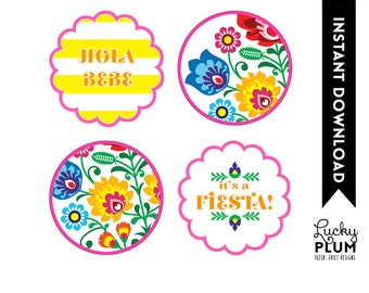 Fiesta Baby Shower Cupcake Topper / Tribal Flower Cupcake Topper / Mexican Fiesta Cupcake Topper / Papel Picado / Printable / DIY / *Digital