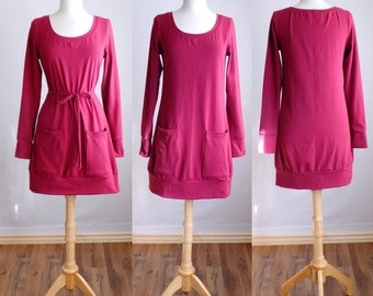 Long Sleeve Tunic Womens Mini Dress with deep Pockets Cotton Jersey loose fit shirt knee length banded hem scoop neck - Made to Order