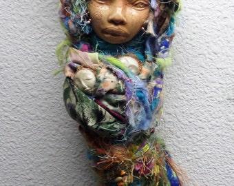 OOAK art doll. Little  Kitchen Witch,  Moon Goddess Ostara, Trendy Kitchen Witch