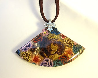 Victorian Polymer Clay Necklace, Victorian Fan Jewelry, Clay Flower Necklace, Wearable Art Choker, Polymer Clay Resin Necklace, Gift For Her