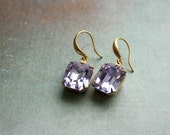 Violet Crystal, Dainty Dangle Earrings - Romantic, Vintage Sparkly Jewelry
