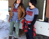 Women's South Dakota Love Flannel Tshirt- Screen Printed South Dakota Red Buffalo Check Women's T-Shirt