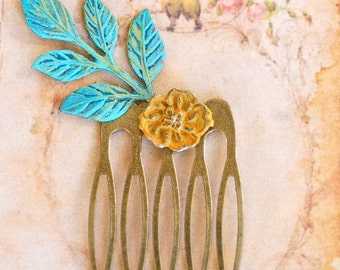 Leaf Hair Comb. Verdigris Green Antique Gold Brass Rustic Woodland Wedding Hair Accesories flower.Tiedupmemories