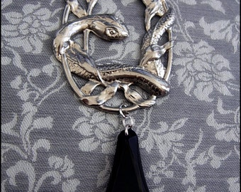 Gothic Art Nouveau Deco Serpent Necklace - with large antique filigree snake centerpiece circa 1910-1920 & Art Deco black coffin teardrop