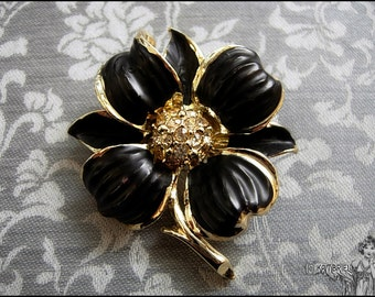 Midnight Garden Black Rose - Vintage Estate Brooch in Gold Plated Metal with Shimmering Clear Rhinestone Crystals