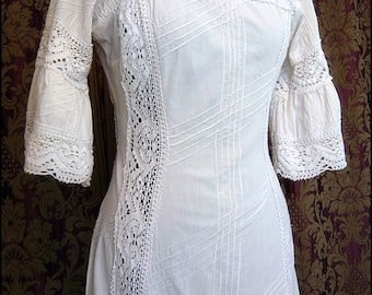 Vintage French Edwardian Style Long White Ivory Summer Garden Party Dress with Intricate Crochet Lace Inserts & Pintuck Details