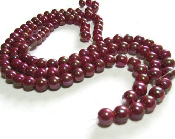 8mm Glass Beads Shiny Red Beads Round Beads Ball Beads 10 Inch Strand
