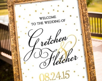 Gold Wedding Decor, Black & Gold Party Decor, Large Custom Wedding Sign Printable, hashtag Wedding Sign, Art Deco Wedding, Welcome Sign