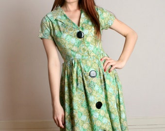 Vintage 1950s Cotton Dress - Pastel Green Watercolor Diamond Coquette Day Dress - Medium