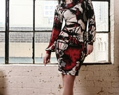 Abstract print Multicolor fitted Sheath Dress/Tunic with Long Bishop Sleeves-Made to Order