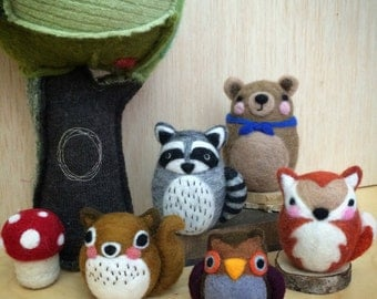 Needle Felted & Hand Stitched Woodland Animals Doll Friends, build Your Own Set with Optional Animal Add-Ons, Handmade by Val's Art Studio