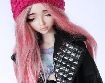 MSD clothes BJD Crochet Hot Pink slouchy beanie MonstroDesigns ready to ship