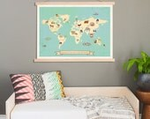 Global Compassion World Map Wall Art, Canvas Tapestry, 24x18 or 36x24,Children's World Map,Gender Neutral Nursery,An
