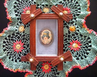 Vintage Flapper Brooch in Primitive Folk Art Frame