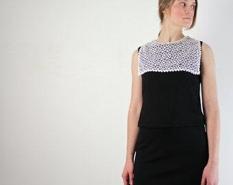 Black Mini Dress • Mini Dress •  XS Mod Dress • Little Black Dress • Lolita Dress • Drop Waist Dress • 60s Mini Dress • XS Dress • 60s Dress