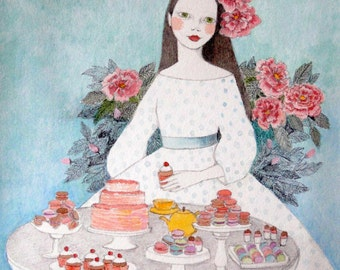 Macaron girl -  PRINT deluxe original art watercolor painting illustration of girl with flowers and macarons