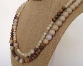 Layered Necklace Beaded Stone Earthtone Toasted Almond Necklace & Earrings Statement Necklace Rustic Handmade Jewelry Bohemian Jewelry